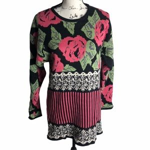 Flora Print Long Sleeve Sweater Dress